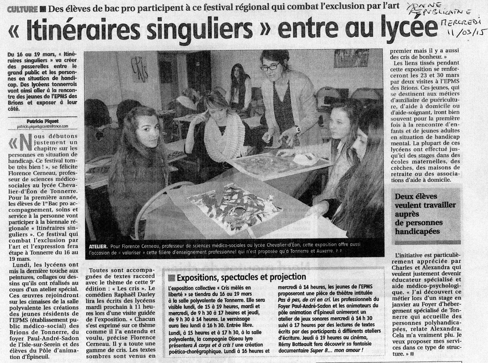 article l'Yonne Républicaine du 11 mars 2015